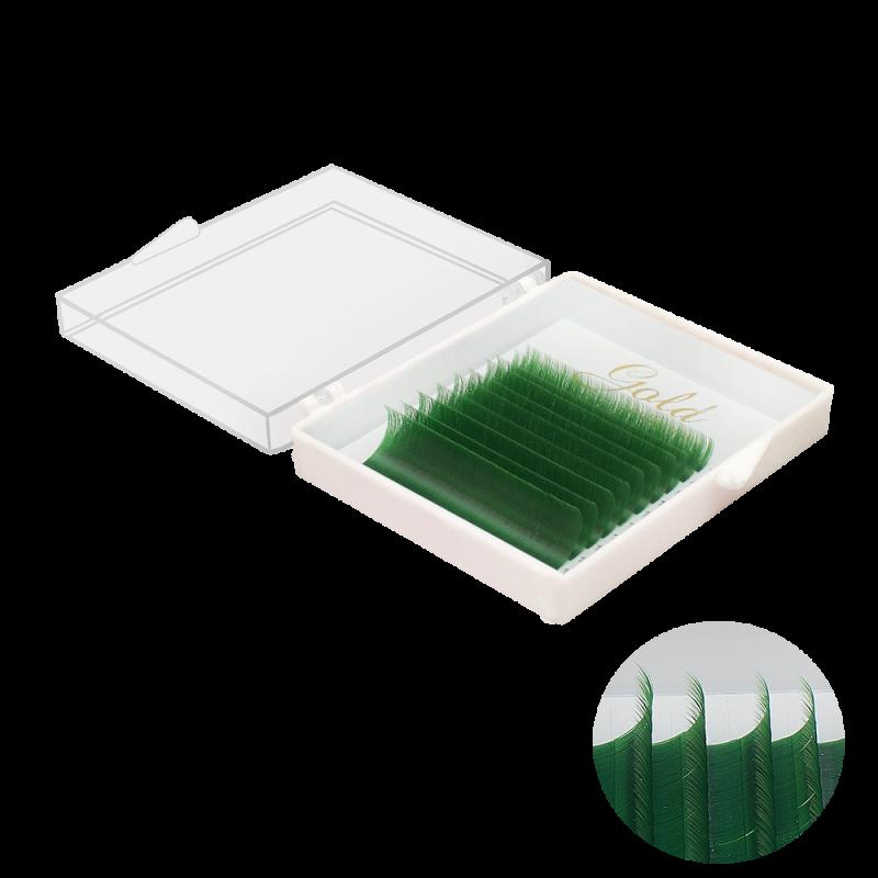 """10 линий, цвет """"Зеленый"""" , (из за разной калибровки экрана цвет может отличаться, все ресницы яркого и сочного цвета)"""